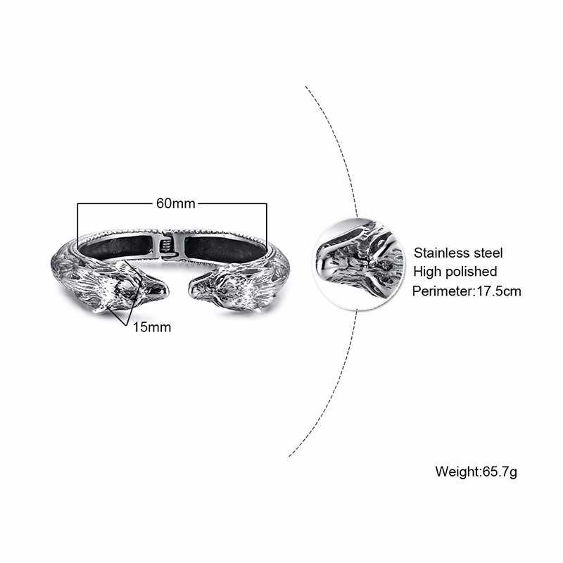 فاسق الفضة رجل صفعة أساور مفتوحة ليوبارد رئيس الإسورة الفولاذ المقاوم للصدأ الثقيلة السائق مجوهرات