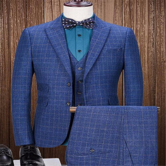 British Styles Blue Plaid Tweed Suits For Men Two Buttons Groom ...
