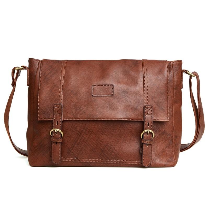 Vintage 100% genuine leather men bag casual cowhide men's shoulder bags business large capacity travel messenger bags briefcase