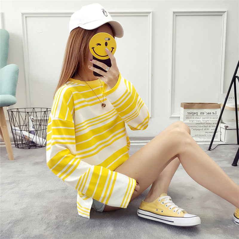 Autumn Women Hoodies Striped Flare Long Sleeve Novelty Fashion Sweatshirts Harajuku Cotton Loose Pullover Female Moletom
