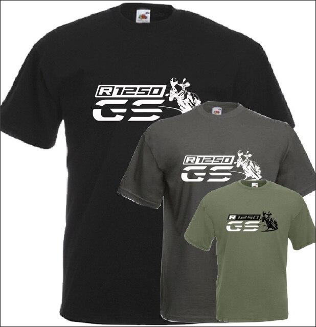 T Shirt manches courtes col rond homme, en coton, pour Fans de motocyclette, R 1250 Gs, imprimé, tendance 2019