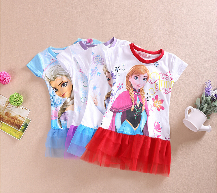 Anna Dress Girls Lace Dresses Girl Costume Kids Summer Dress Girls Child A-line Elsa Vestido Party Clothes For 2 - 7 Years