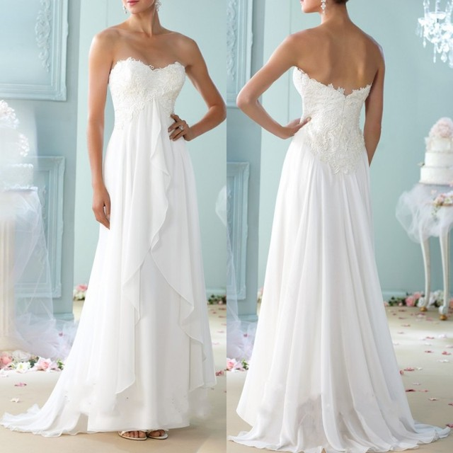 Chiffon Bridal Gowns A Line Sweetheart Empire Waist Lace Details ...