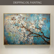 Experienced Artist Hand-painted Floral Blooming Oil Painting on Canvas Beautiful Colors Flower for Living Room
