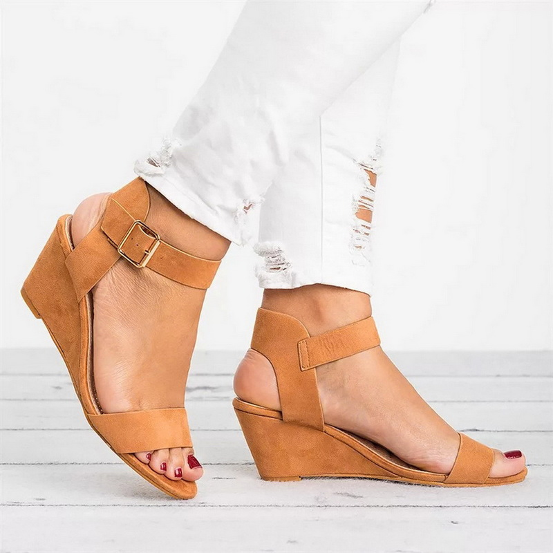 LASPERAL Sandals Shoes Fashion Women Ladies Pu Wedges for Pumps-Strap 35-43-Size