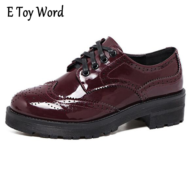 E TOY WORD Spring New Fashion Bullock Oxford Shoes Women Carve Patterns Designs Lace Up Coarse Leather Shoes Women's Shoes e toy word canvas shoes women han edition 2017 spring cowboy increased thick soles casual shoes female side zip jeans blue 35 40