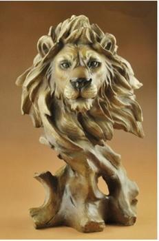 Lion furnishing a creative home decoration mitation wood carving crafts birthday gift horse head crafts tatue sculpture