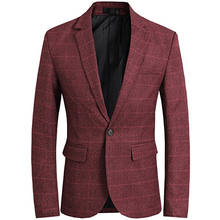 Mens Plaid Suit Jacket Slim Fit Notch Lapel Coat Groom Evening Prom Casual Blazer Men Blazer One Button Fortmal Brick Red notch lapel floral print back vent coat
