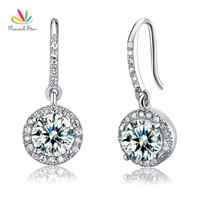 Drop Shipping Free 1 5 Carat Round Cut Simulated Diamond 925 Sterling Silver Dangle Earrings CFE8026