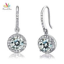 Paon étoile solide 925 en argent Sterling mariée mariage mode demoiselle dhonneur boucles doreilles balancent goutte bijoux CFE8026