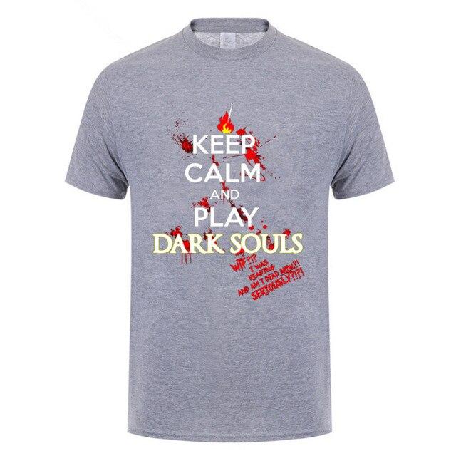 2018 Hot Summer keep calm dark souls t shirt console game fans tee shirts keep calm and play dark souls men crew neck t shirt 2