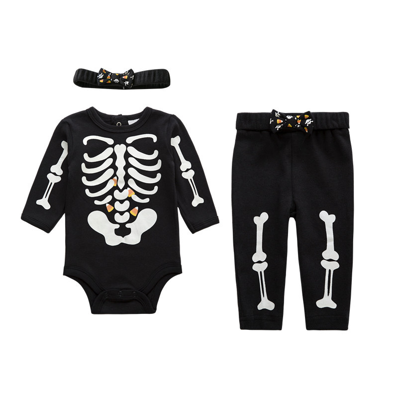 2017 Halloween Baby Boy Girl Clothes Infant Bebe Luminous Skull Clothing Sets Skeleton Night Light Romper+Pants+Headband 3pcs baby girl infant 3pcs clothing sets tutu romper dress jumpersuit one or two yrs old bebe party birthday suit costumes vestidos