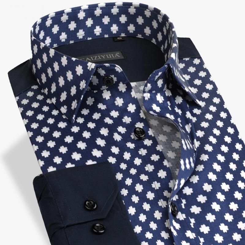 Men Floral Print Cotton Shirts Brand Polka Dot Patchwork ...