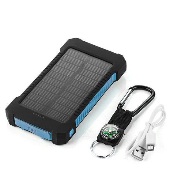 Resistencia a La Caída de Cargador Solar 10000 Mah Doble USB portable Solar Power Bank 10000 mah de La Batería Externa Para El smartphone