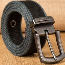 Men Weave Canvas belt 2017 mens workout waist belt Knitted canvas belt male canvas strap casual jeans belt pin buckle lengthen