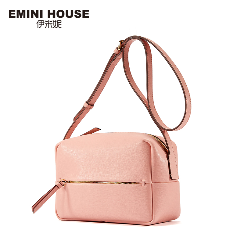 EMINI HOUSE Split Leather Shoulder Bag Simple Style Boston Women Messager Bags High Capacity Crossbody Bags For Women