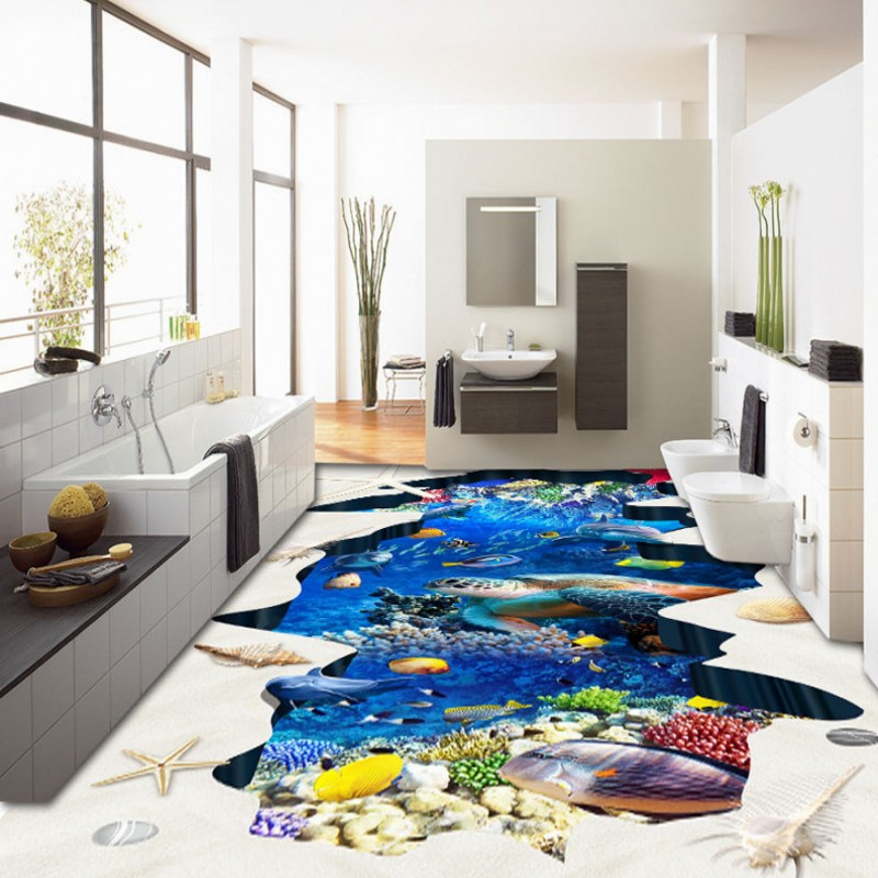 Free Shipping Beautiful Underwater World Cave Tropical Fish flooring wallpaper bedroom square decorative waterproof floor mural корм tetra tetramin xl flakes complete food for larger tropical fish крупные хлопья для больших тропических рыб 10л 769946