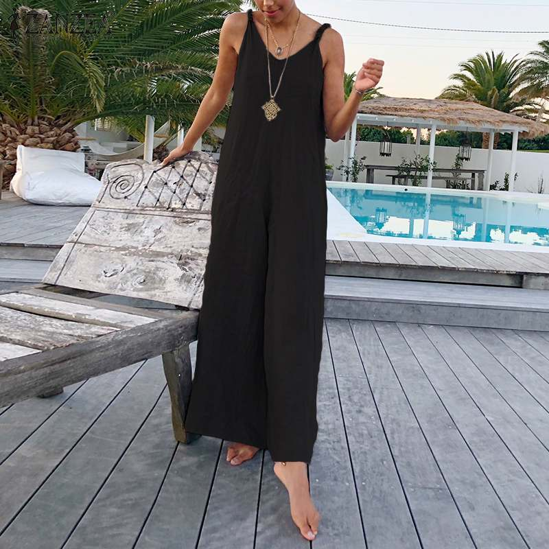 2019 Summer Women Jumpsuit Summer Strappy Wide Leg Pants Overalls ZANZEA Women' S Jumpsuits Solid Vintage Long Playsuit Mono 5XL