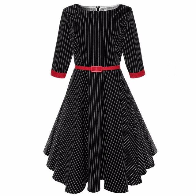 9792b00a96c Women spring dress 2017 vintage retro style striped dresses sash Audrey  Hepburn robe pinup rockabilly big swing vestido de festa