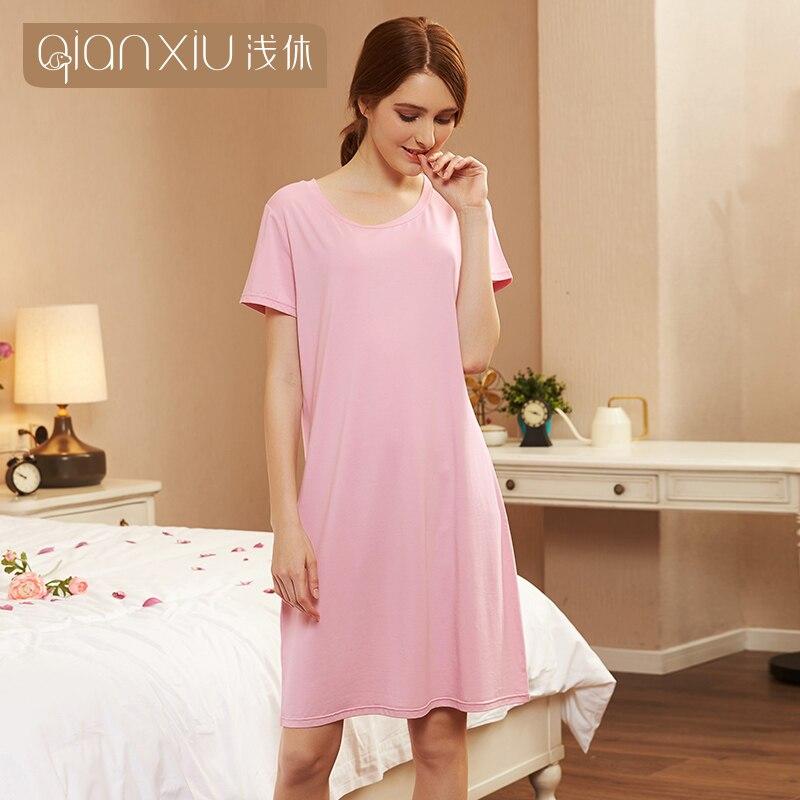 Qianxiu 2019 New style  Nightskirt Summer Casual Short-sleeve Nightgown &Sleepshirts Girl Sleepwear 1970