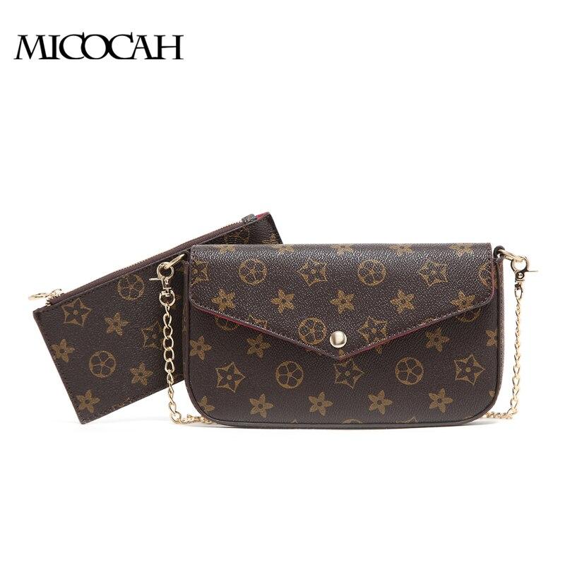MICOCAH : 2 Pieces 2017 New Arrival Fashion Envelope Bag PU Leather Floral Print
