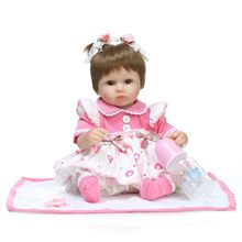 "NPK reborn baby toy dolls 18""41cm soft silicone vinyl reborn baby girl dolls bebes reborn bonecas play house toys child plamates(China)"