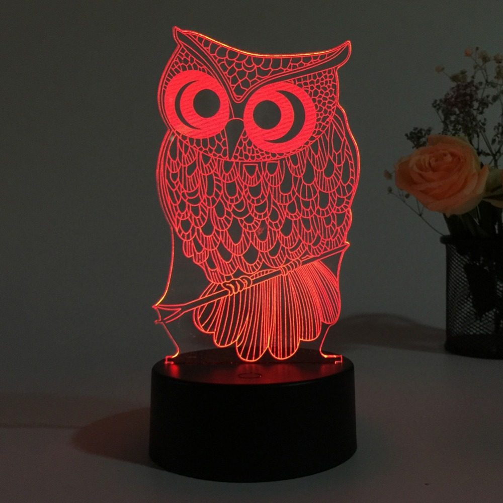 3D Lamp LED Owl Shape Night Light 7 Colors Changing Desk Table Lamp Halloween Present Gift Decor image