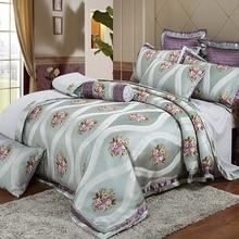 4/pcs Jacquard Satin bedding set queen king Luxury Satin quilt/duvet/comforter cover bed linen bedclothes set home textile