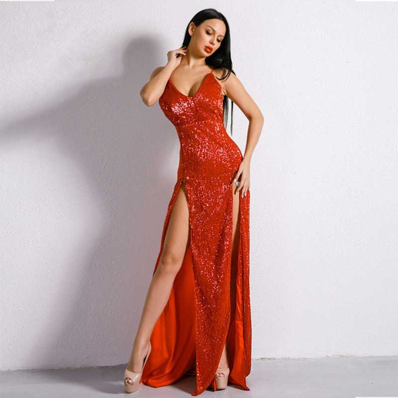 e500cbff285 ... Newest Arrive 2018 Elegant Maxi Sequin Dress Maxi Split Sexy Women Red  Backless Long Celebrity Spaghetti ...