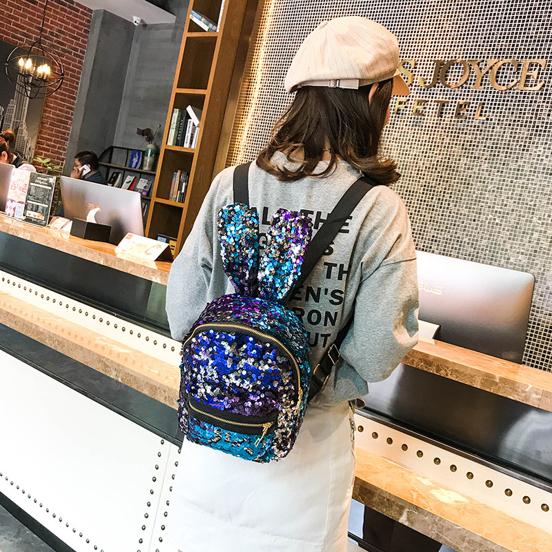 Womens Sequin Backpack Cute Rabbit Ear Bag Mini Student Girl Travel
