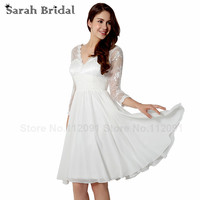 Simple Sheer Lace Neckline Wedding Dresses V Neck 2015 Fashionable Long Sleeves Bridal Gowns White Chiffon