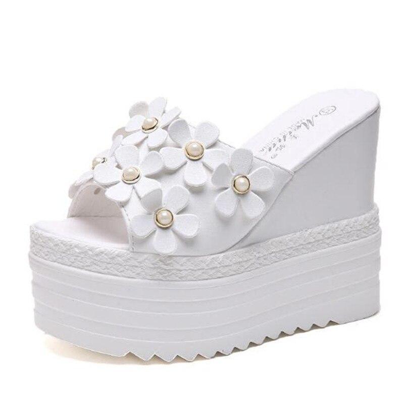 Super High Women Slides Wedge High Heel 15 Cm White Black Slippers Platform Summer Women Shoes Wedges Flip Flops Beach Shoes