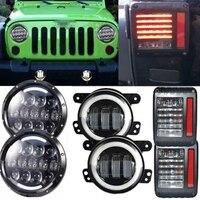 Белый/Желтый Halo Ангел глаз 105 Вт 7 светодиодные фары и светодиодные Реверсивный Стоп задний фонарь и 4 ''туман свет для Jeep Wrangler JK