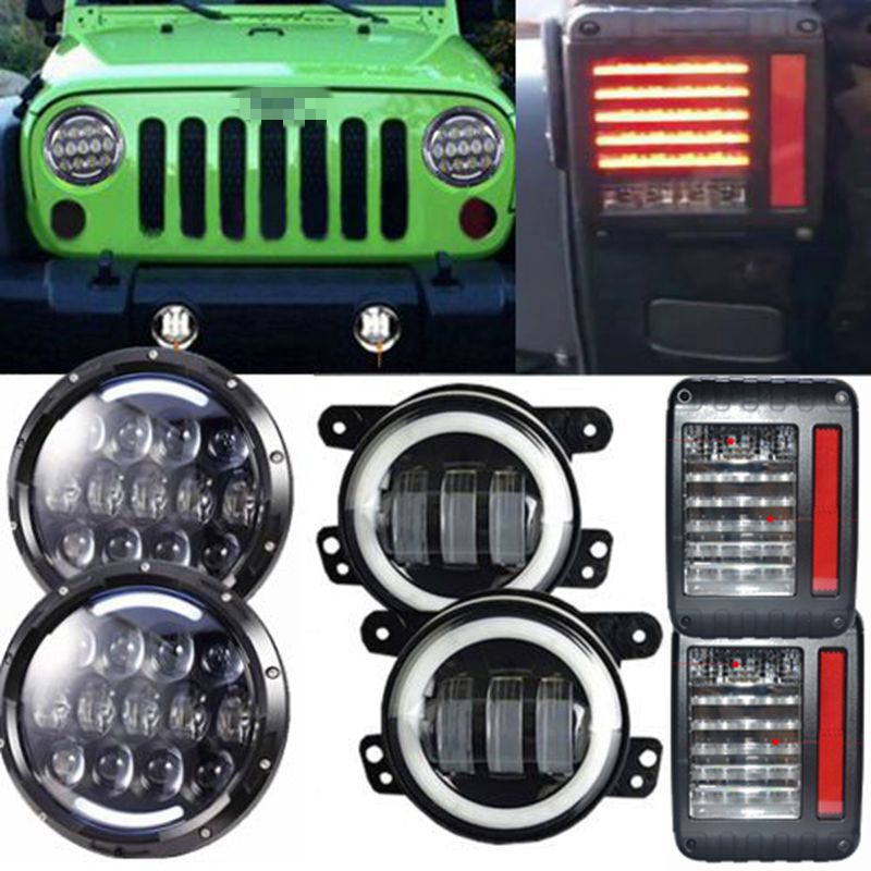 White/Amber Halo Angel Eye 105W 7 LED Headlight & LED Reversing Brake Light Rear Taillight & 4'' Fog Light For Jeep Wrangler JK