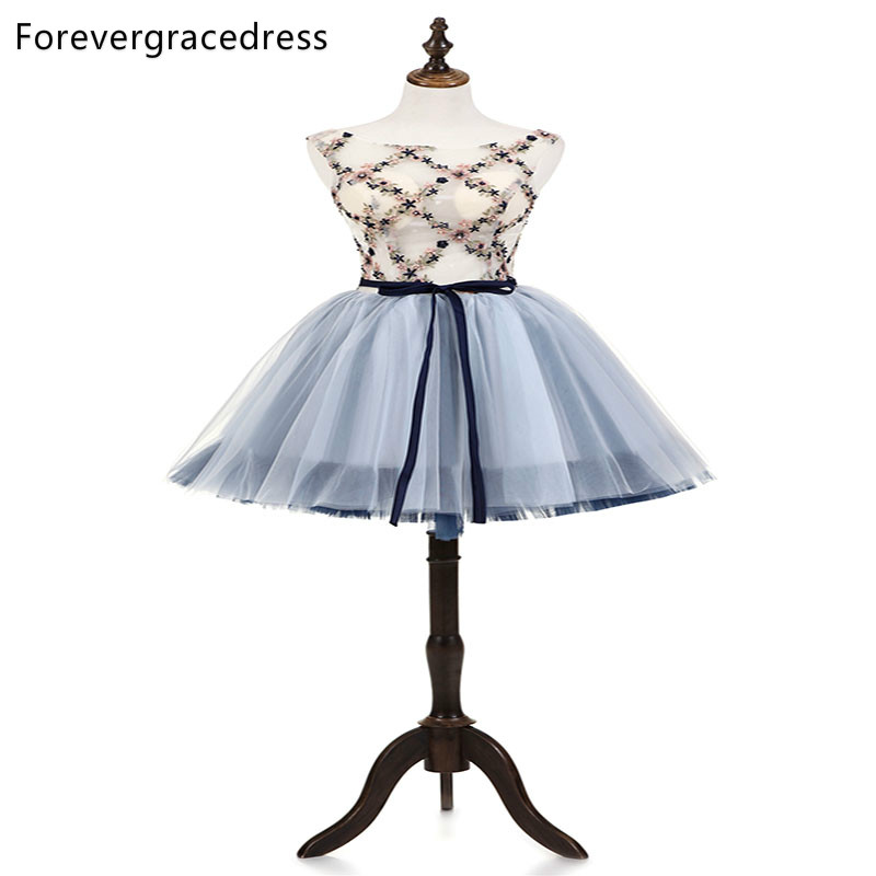 Forevergracedress Fit Short   Cocktail     Dresses   A Line Tulle sleeveless Backless Girls Party Gowns Plus Size Custom Made