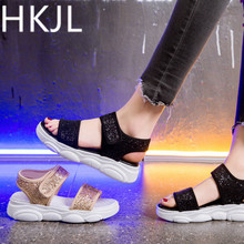 HKJL Sandals lady 2019 summer sequin cloth bear thick-bottomed high casual beach shoes with trendy sports A220