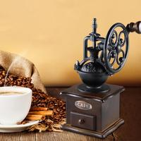Manual Coffee Bean Grinder Retro Style Wooden Mill Wheel Hand Crank Kitchen Tool Coffeeware