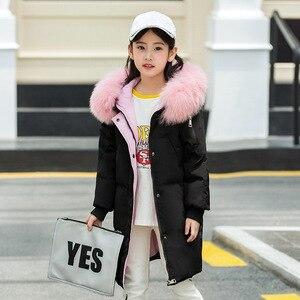 Image 2 - Модная одежда для девочек до 30 градусов, зима 2019, куртки на утином пуху, детские пальто, теплая плотная одежда, детская верхняя одежда для холодной погоды