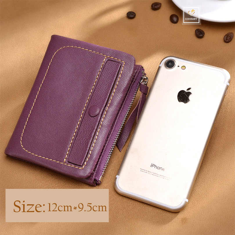 COHEART Brand Luxury Women Wallet Genuine Leather Female Wallet Purse Real Sheepskin High Quality Card Holders Coin Pocket Small