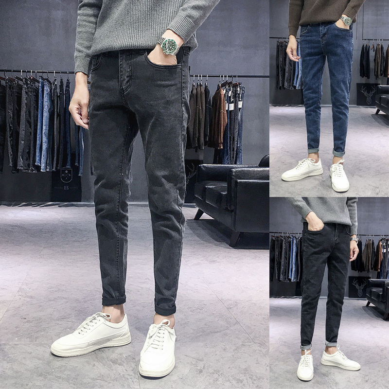 2018 Autumn   Jeans   Men Slim fit Casual Denim Pants Man Youth Literary Student Fashion Solid Color Cowboy Trousers Male Clothes