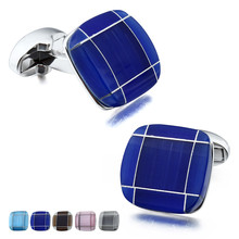 Classic Men's Square Cat Eye Cufflinks for Shirt Blue Stone Cuff Links for Wedding Business with Box