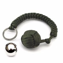 Strand Stainless Steel Ball Pendant Paracord Parachute Cord Key Chain Ring Outdoor Climbing Camping Umbrella Rope Survival Kits(China)