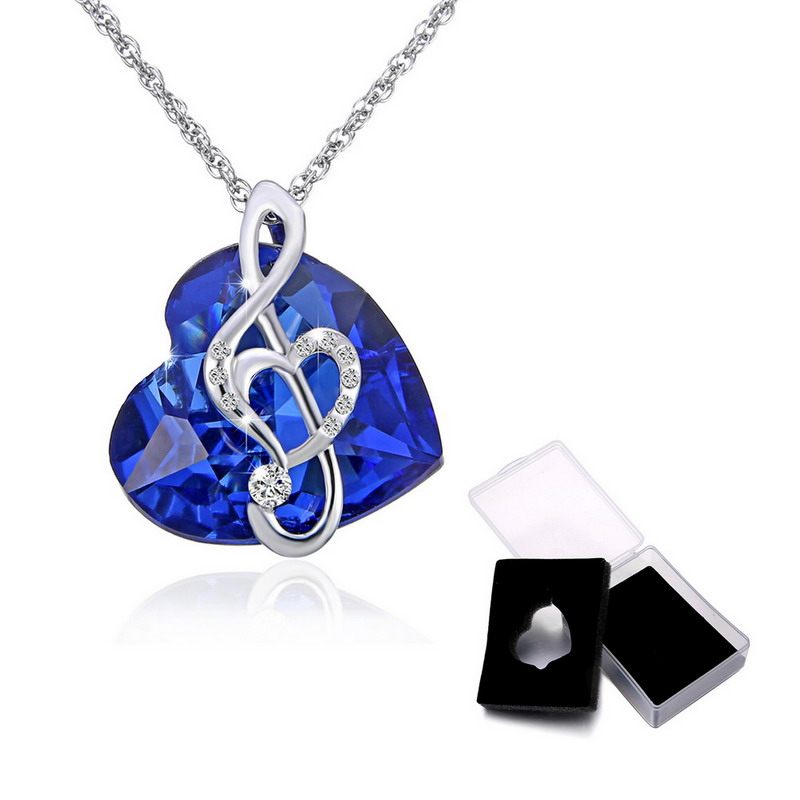 Valentines Day Gift Women Fashion Necklaces Silver-Color Blue Love Heart Austria Crystal Pendant Couple Necklace Bridal Jewelry