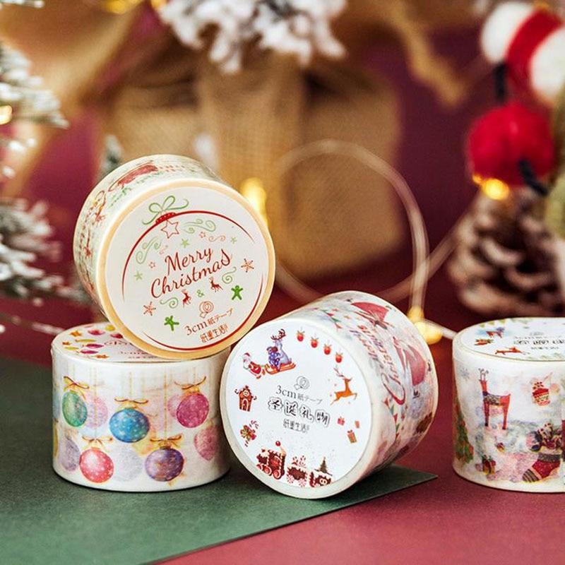 1 Pcs Kawaii DIY Paper Japanese Washi Masking Tapes Merry Christmas Bell Decorative Adhesive Tapes Scrapbooking Stickers