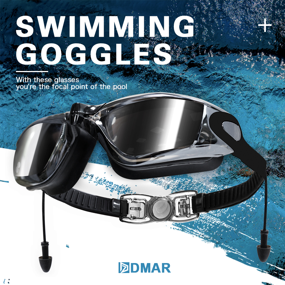 DMAR Silicone Swimming Goggles Anti-fog UV Swimming Glasses With Earplug for Men Women diopter Sports Eyewear