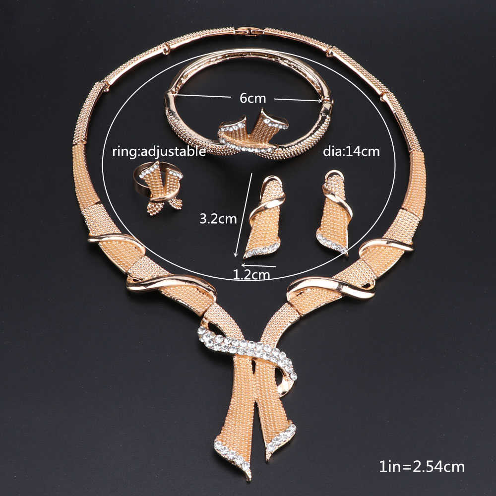 African Beads Jewelry Set Crystal Costume Nigerian Wedding Jewelry Sets For Women Vintage Charms Gold Color Necklace Set