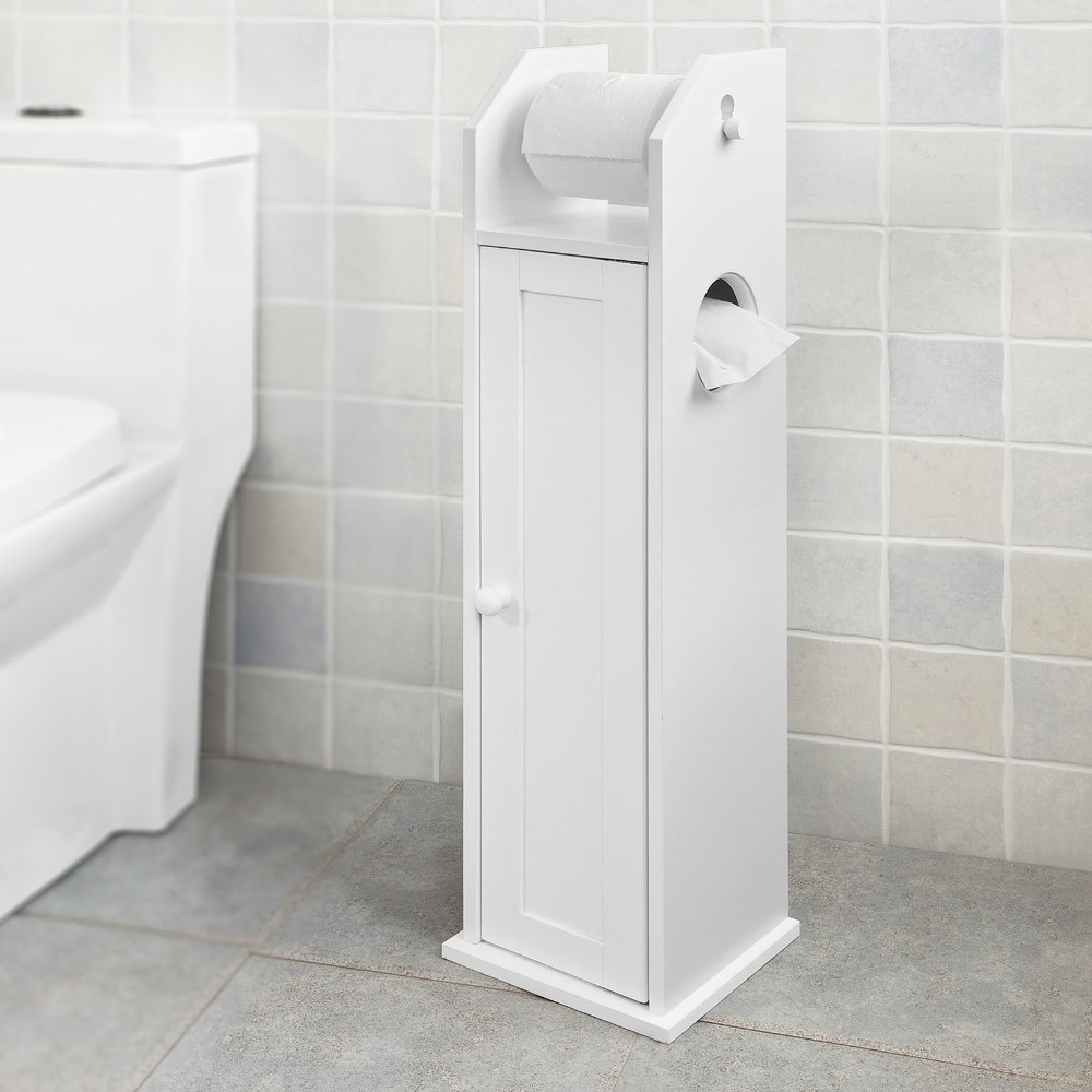 Madera Blanca pié titular de rollo de papel higiénico con baño armario de almacenamiento