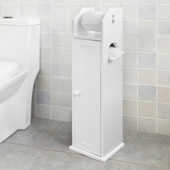 SoBuy FRG135-W Free Standing Wooden Bathroom Toilet Paper Roll Holder Storage Cabinet Bathroom Furniture