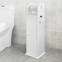 SoBuy FRG135 W Free Standing Wooden Bathroom Toilet Paper Roll Holder Storage Cabinet Bathroom Furniture
