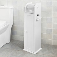 SoBuy FRG135 W Free Standing Wooden Bathroom Toilet Paper Roll Holder Storage Cabinet Bathroom Furniture